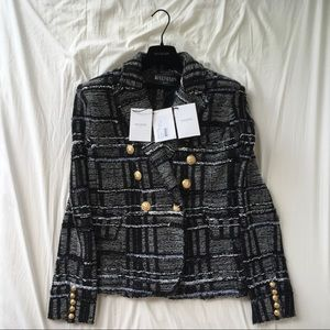 BALMAIN Double-Breasted Checked Tweed Blazer fr 36